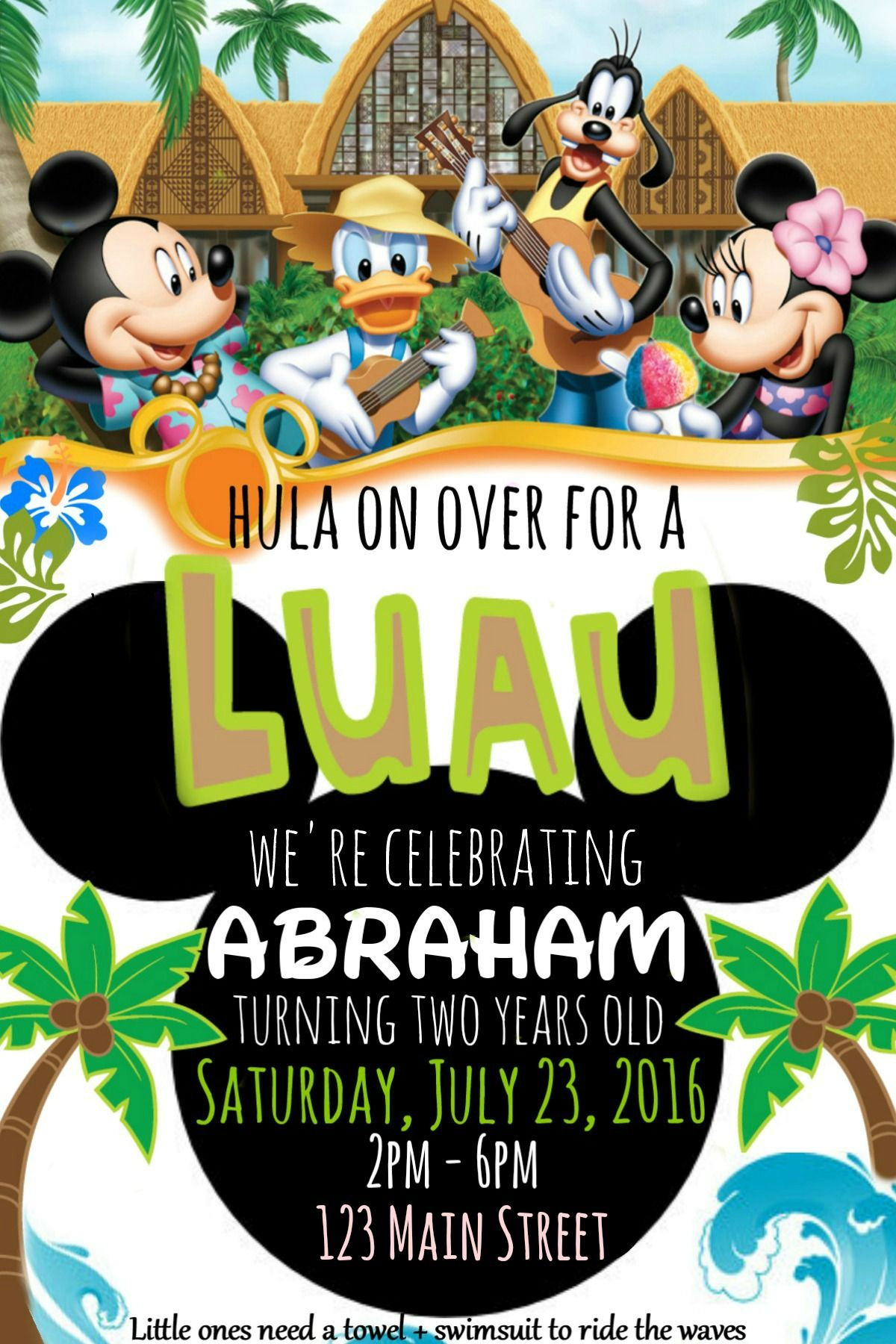 Mickey Mouse Luau Birthday Party Invitation With Images Luau