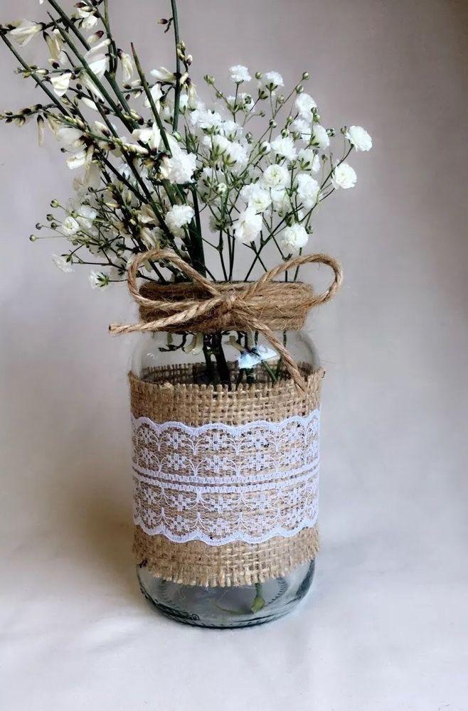 10 X Gl Jars Vases Vintage Wedding Centrepiece Shabby Chic Hessian Lace Twine