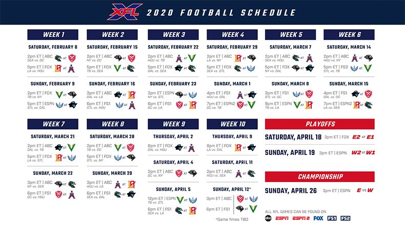 XFL Football 2020 Season Schedule in 2020 Xfl football