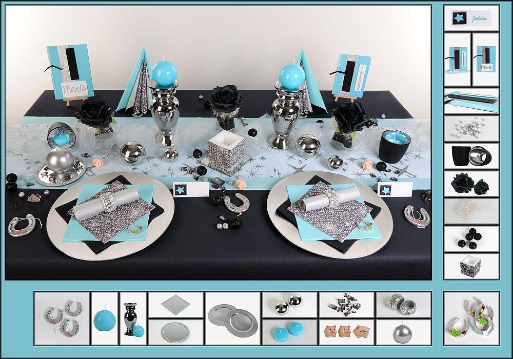 Tischdeko Silvester 1 in Silber als Mustertisch - Tafeldeko.de