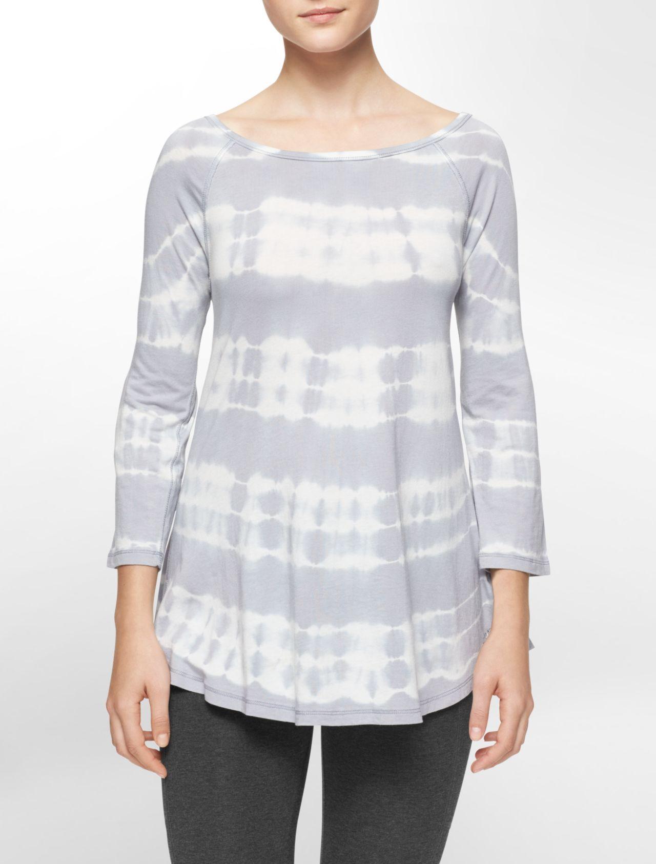 2b00da1098e performance tie dye stripe roll-up sleeve tunic | White Label | Calvin Klein