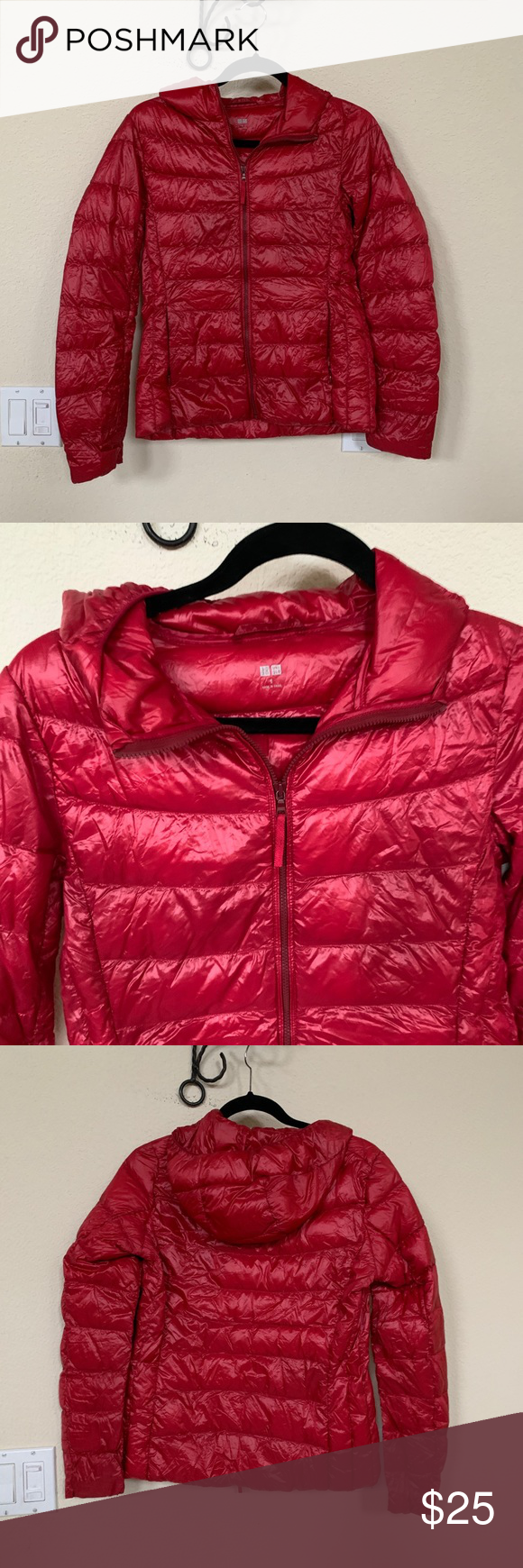 Uniqlo cranberry down red puffer coat jacket s Red