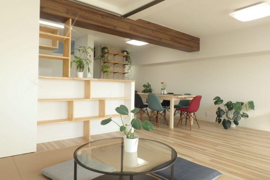 使い勝手のいい導線にリノベ京都で家づくりするならママ設計士onestarにお任せ リビング 梁 リビングダイニング 収納 リノベーション リビング