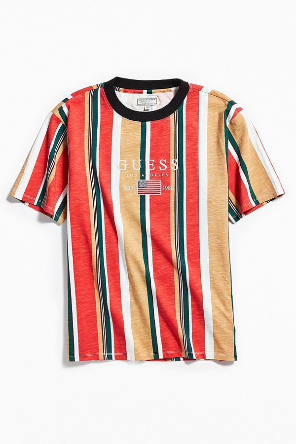 Slide View: 2: GUESS David Sayer Stripe Tee | Shirt outfit