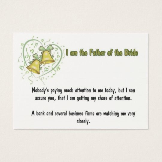 Image Result For Father Of The Bride Business Card
