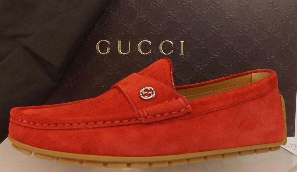 Gucci Mens Queen Rosso Red Suede Loafer