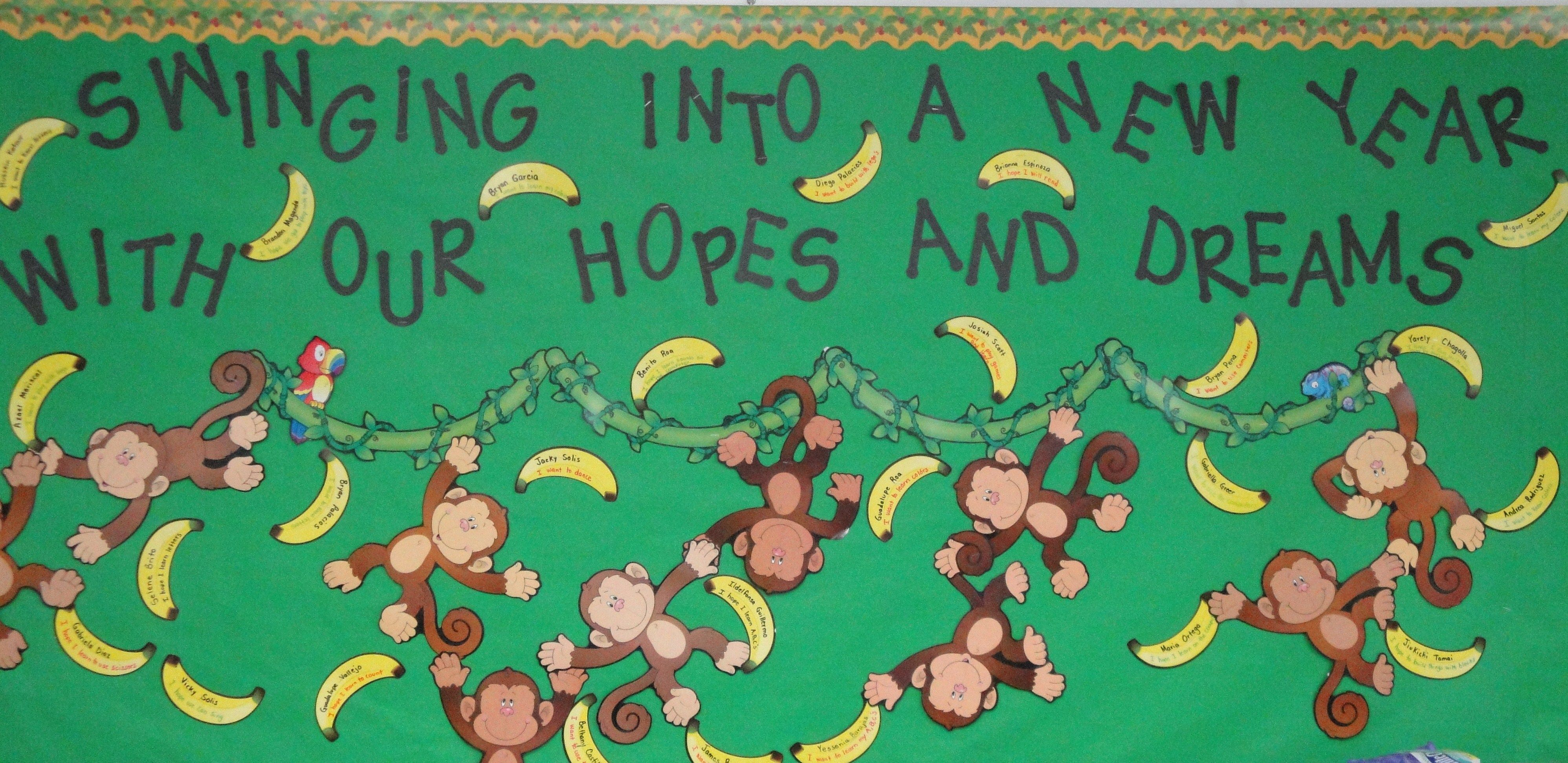 Happy New Year Bulletin Boards Ideas For High School Swinging Into A New Year With Our Hopes And Dreams Bullet Bulletin Boards Responsive Classroom Bulletin