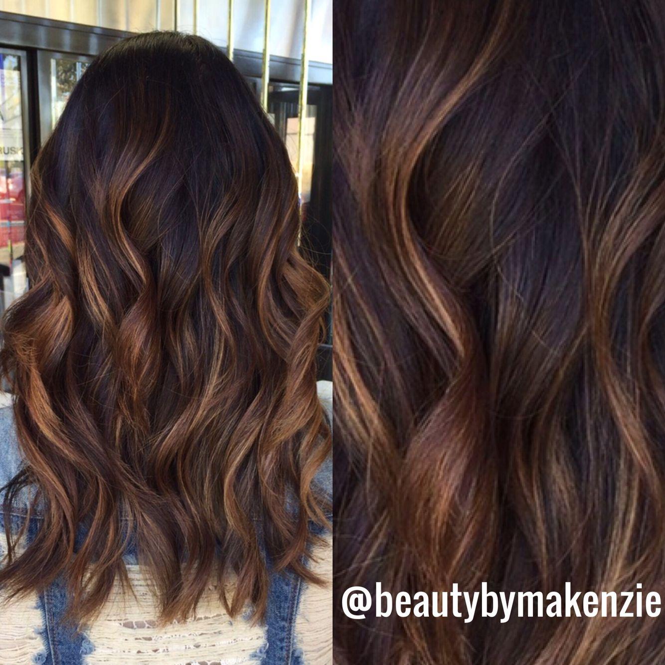 balayage caramel highlights brunette hair brown hair