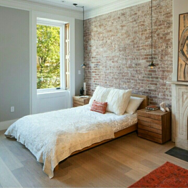 Love The Wall And The Bedside Tables Houzz Inspiration Brick