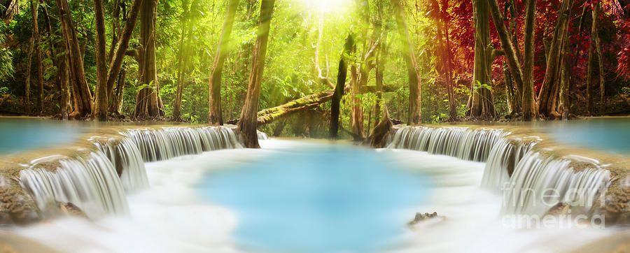 Huai Mae Kamin Waterfall By Anek Suwannaphoom In 2020 Waterfall Photography Canvas Art Prints Framed Canvas Art