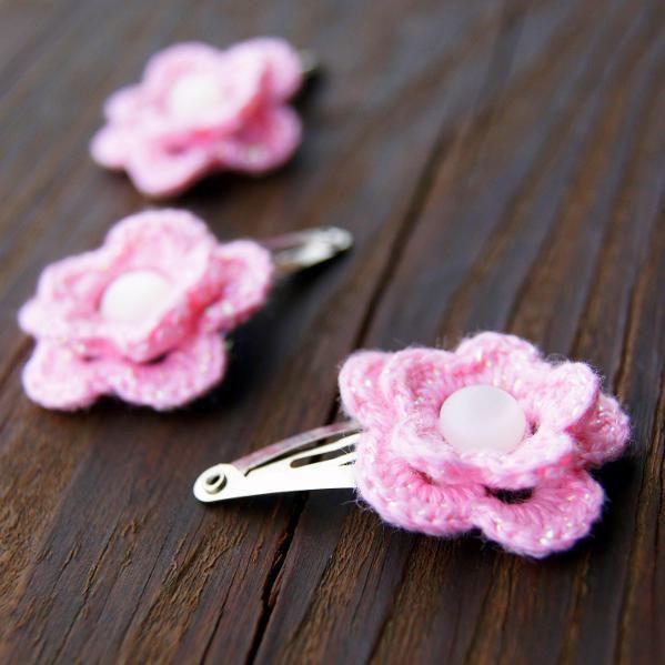 Thread Crochet Flower Hair Clips Crochet Therapy Pinterest