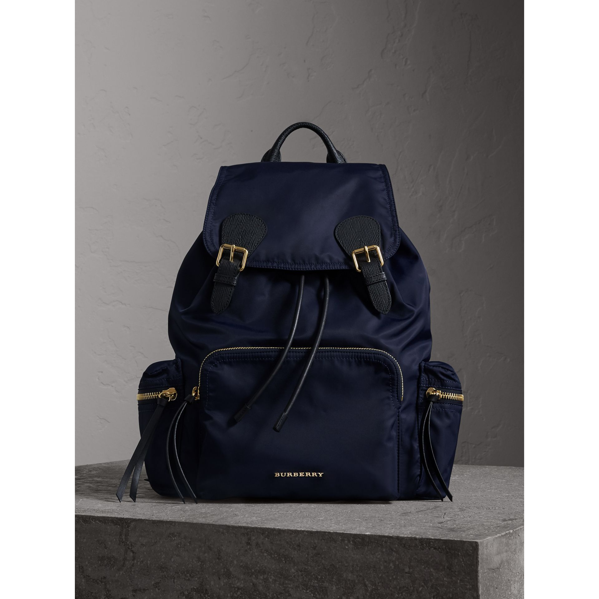 burberry the large rucksack in technical nylon and leather