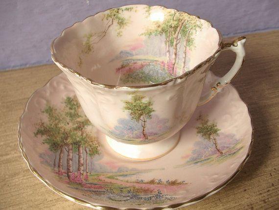 Antique English tea cup and saucer set vintage by ShoponSherman,