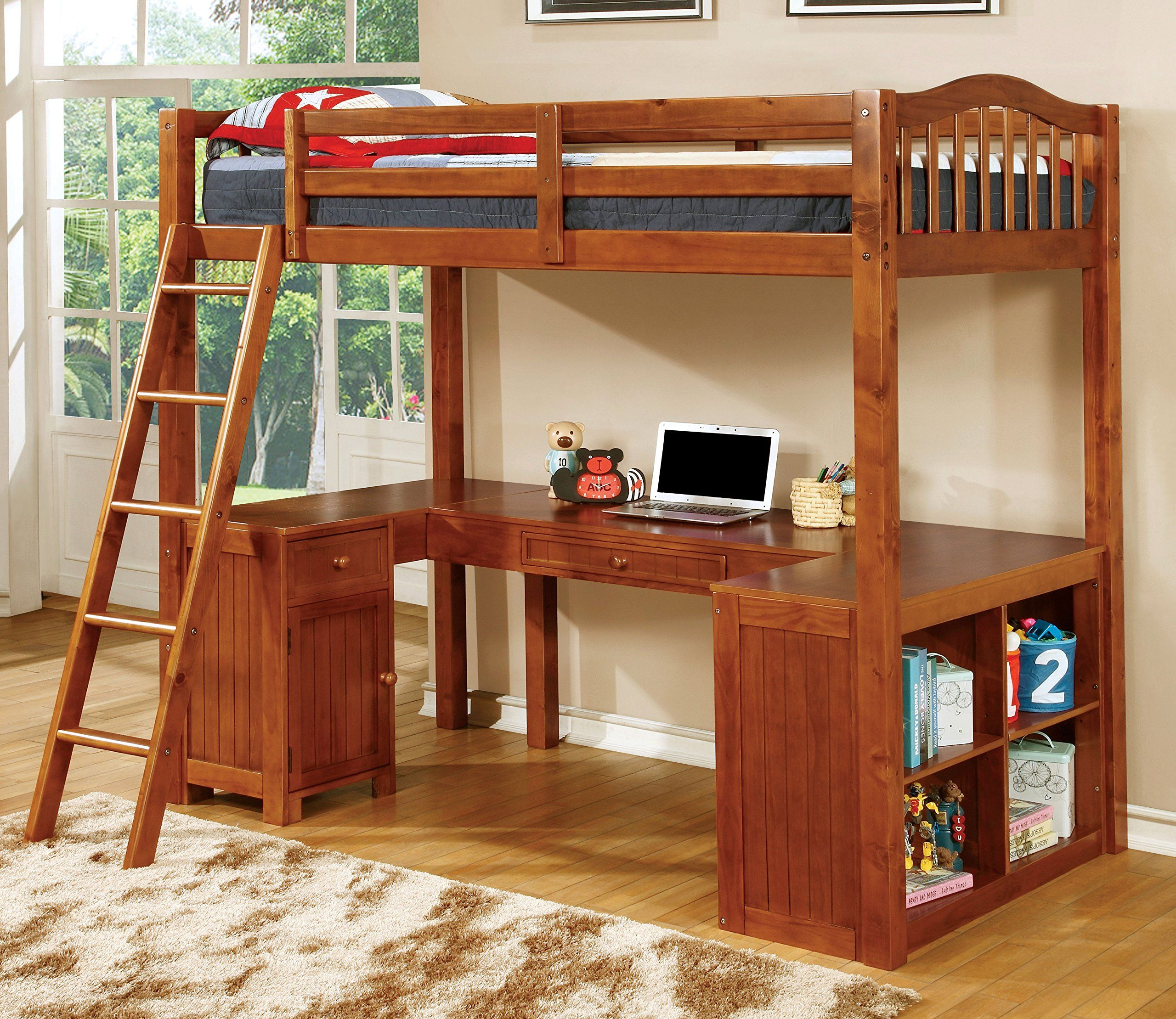 Furniture Of America Lavinia Twin Loft Bed With Workstation 41 625 By 80 By 75 Inch Oak Twin Loft Bed Bed With Desk Underneath Bunk Bed With Desk