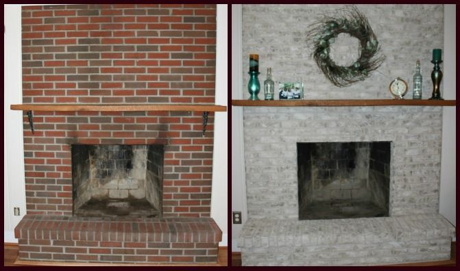 Brick fireplace makeover before and after fireplace for Bricks painting design