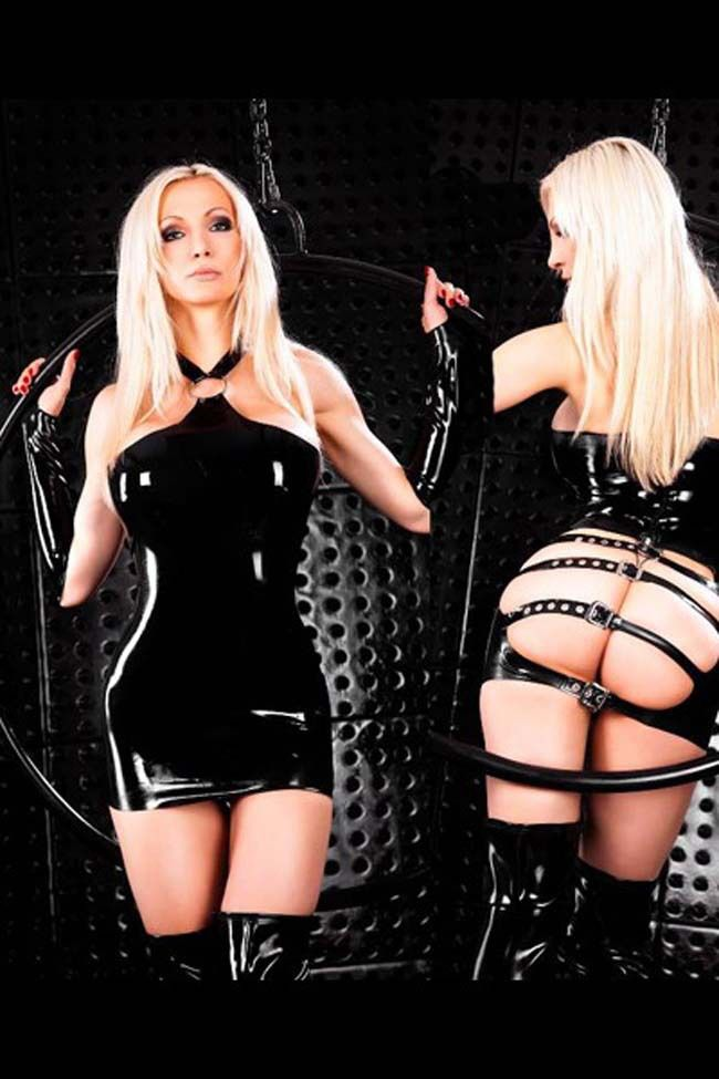 Plus Size Fetish Wear Latex Patent Leather Bondage Dress Gloves
