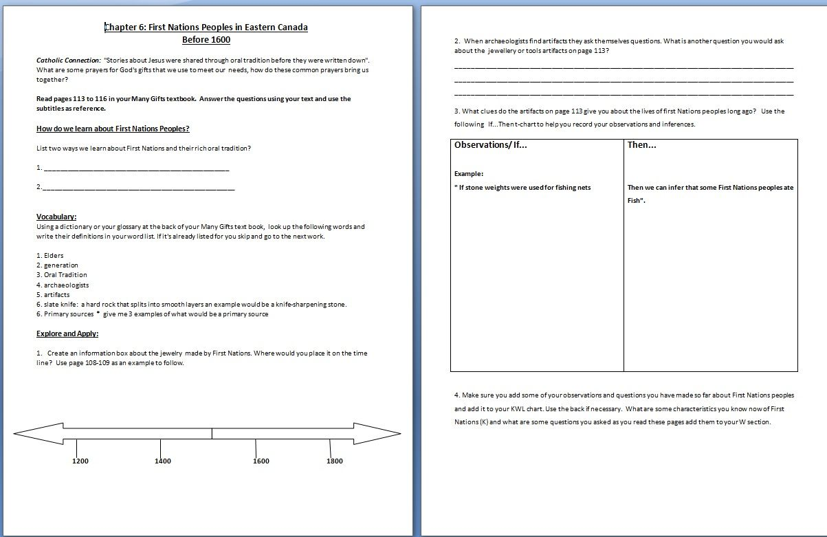One Of The Handouts For First Nations Unit Beginning Of