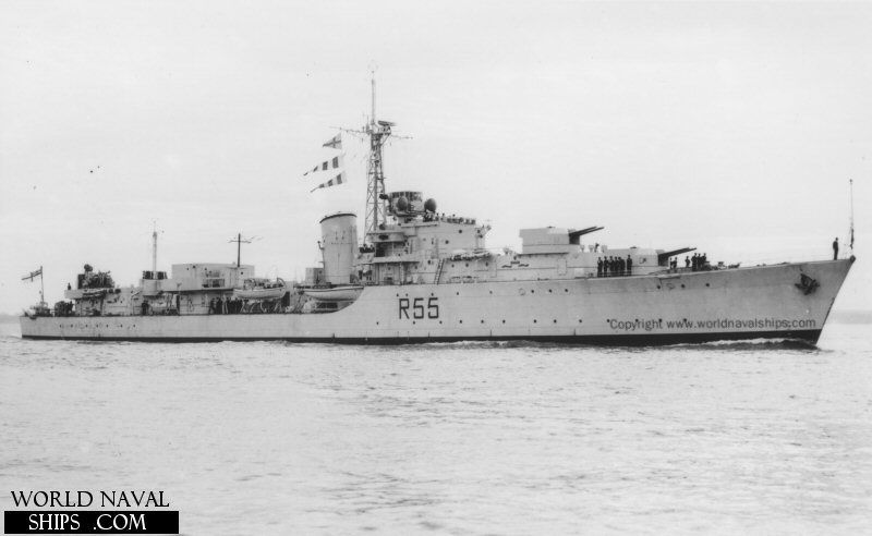 Hms Finisterre D55 Was A Battle Class Destroyer Of The Royal Navy Rn 3a Royal Navy Ships Royal Navy Navy Ships