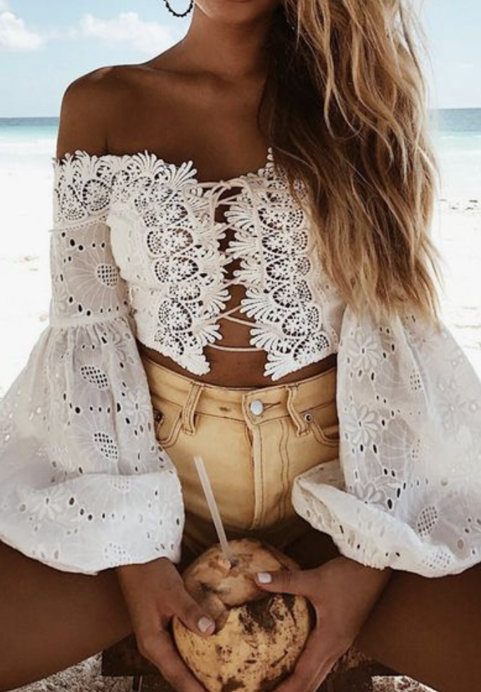 52e96e676aec off shoulder bell sleeve lace up crochet top + yellow levis high waisted  denim shorts + blonde beachy balayage hair | best vacation outfits