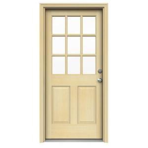 JELD-WEN 36 in. x 80 in. 9 Lite Unfinished Hemlock Prehung Front Door with Unfinished AuraLast Jamb and Brickmold