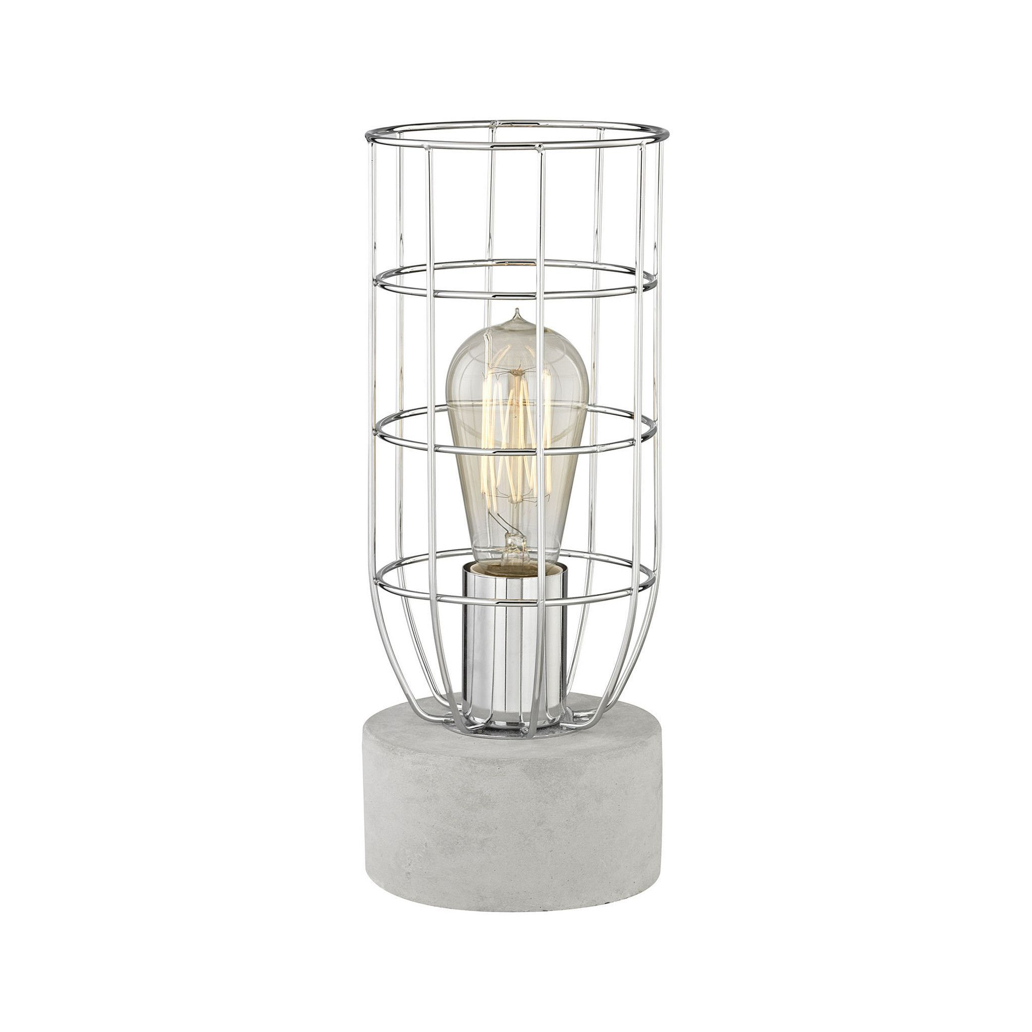 0-000742>1-Light Wardenclyffe Table Lamp Polished Concrete/Polished Nickel
