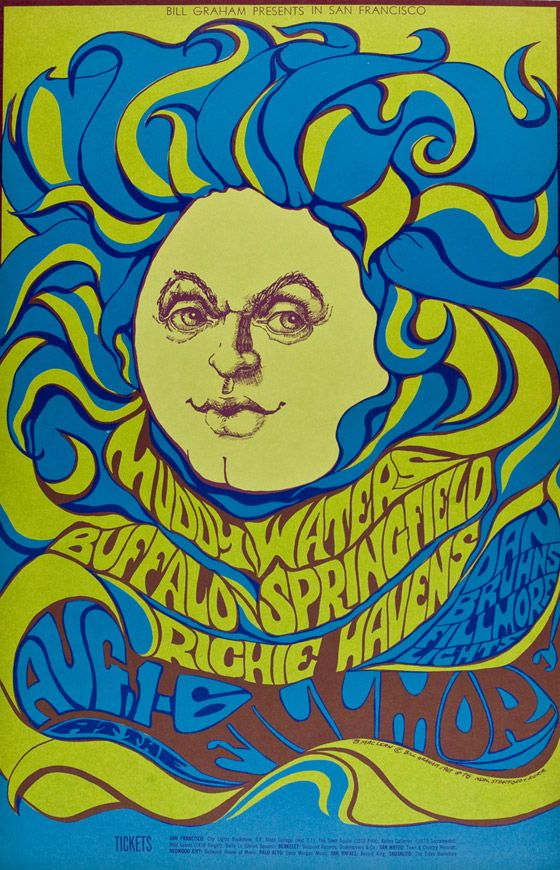 Leading Artists Of The 1960s Psychedelic Art Movement Were San Francisco Poster Artists Such As Wes Wilson Mou Rock Poster Art Psychedelic Poster Rock Posters