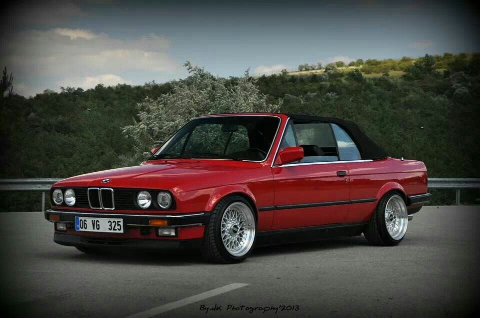 BMW E30 3 series cabrio red