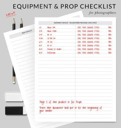 Printable For Your Binder - Equipment \ Props #equipment - equipment checklist