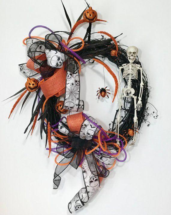 Skeleton Halloween Wreath, Black Grapevine Wreath Scary Door, Spooky - scary door decorations for halloween