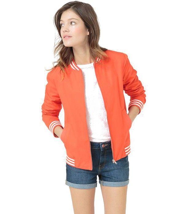 Blouson Zippé style Bombers Femme - Couleur Rouge et Rayures - R Essentiel  | Coup de Coeur mode