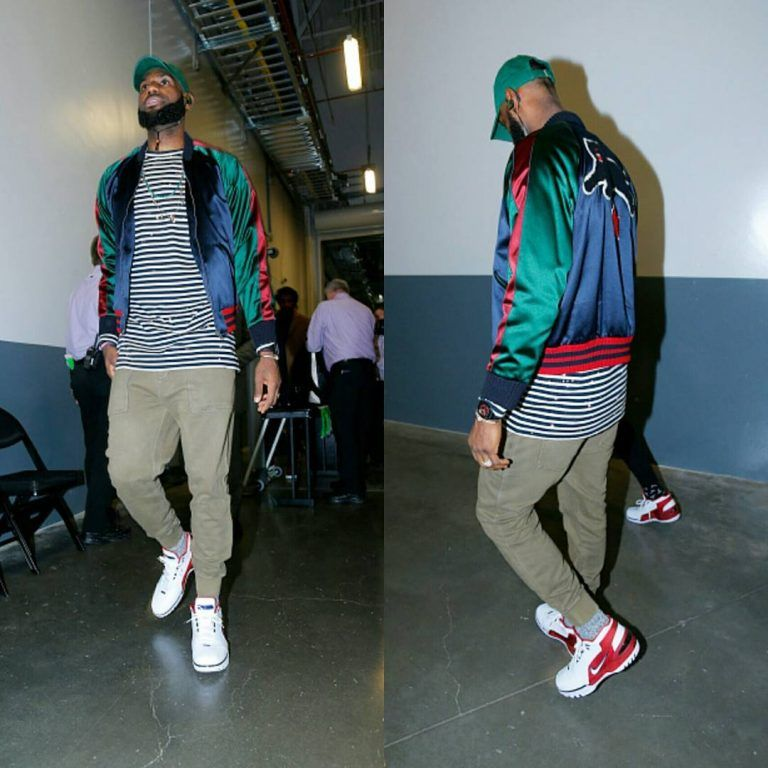 detailed look 4668b fd608 LeBron James Attends Game In Gucci Jacket, Off-White T-Shirt And Nike LeBron  Air Zoom Generation Retro Sneakers