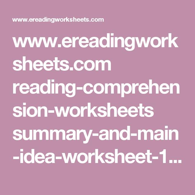 Ereadingworksheets Reading Comprehension Worksheets Summary