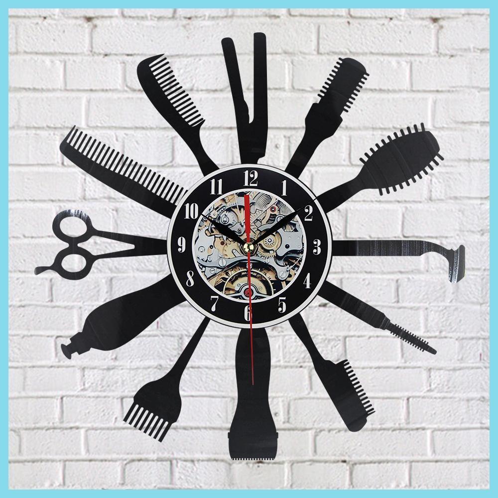 Creative vinyl wall clock gift idea for barber hair beauty salo