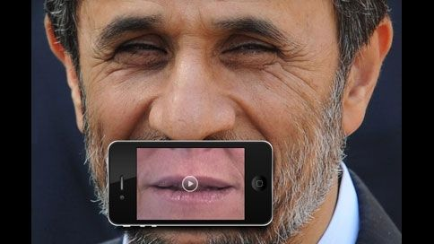 Scan the QR code with your iPhone, then place the phone over the leader's mouth. The mouth starts talking—but it's the voice of a journalist discussing media censorship in that country.