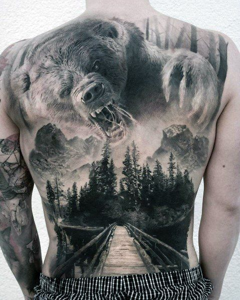 Mens Big Bear Forest Full Back Tattoo – # Bear #forest #forests #Full # Big #Mens