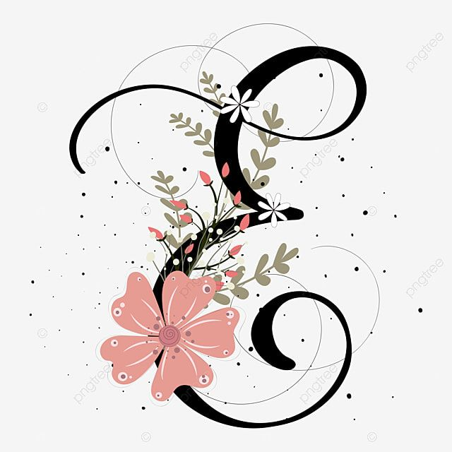 Alphabet Letter E Hand Lettering With Flowers And Leaves Vintage, Letter E, Alphabet, Letter PNG and Vector with Transparent Background for Free Download
