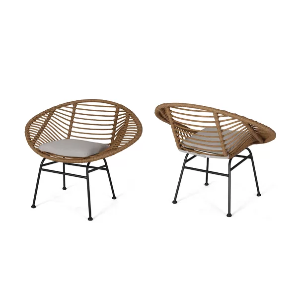 Bungalow Rose Maser Outdoor Woven Patio Chair With Cushion Wayfair Rattan Chair Patio Chairs Outdoor Chairs