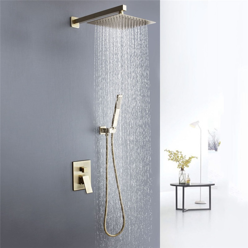Brushed Gold Shower Faucet System 8 10 12 Inches Top Shower Head Optional Embedded Box Included Gold Shower Shower Taps Shower Faucet