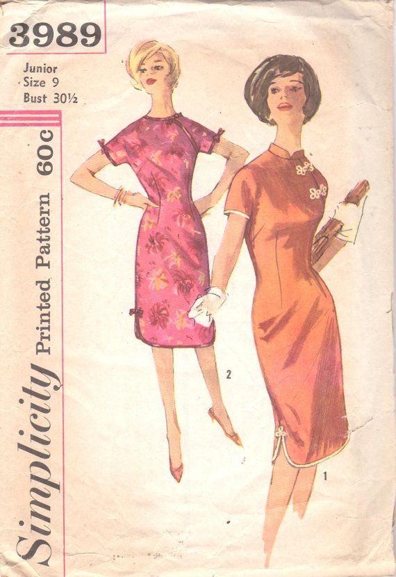1960s Simplicity 3989 Misses Cheongsam Oriental Sheath Dress Pattern ...