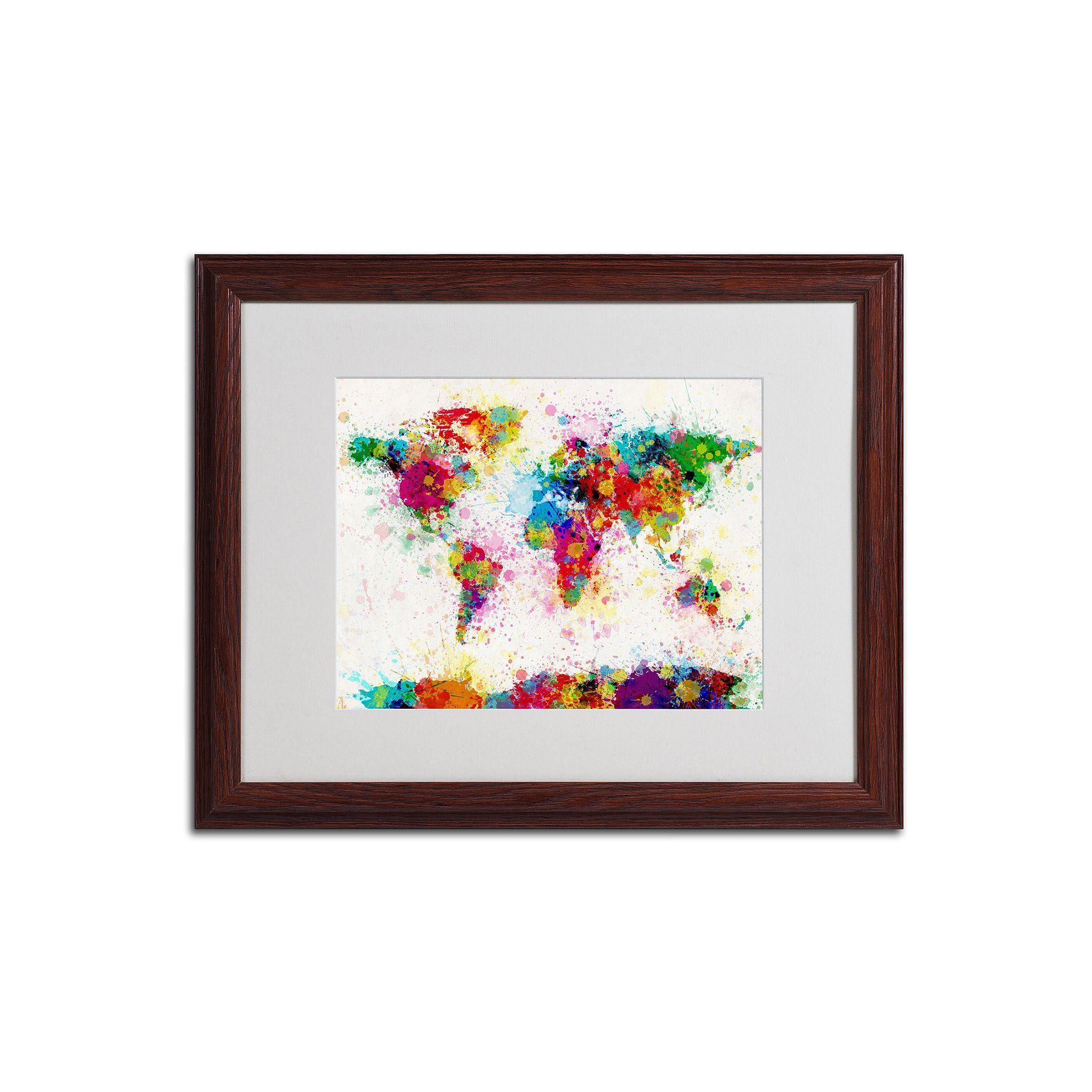 Trademark fine art world map paint wood finish framed wall art med yellow
