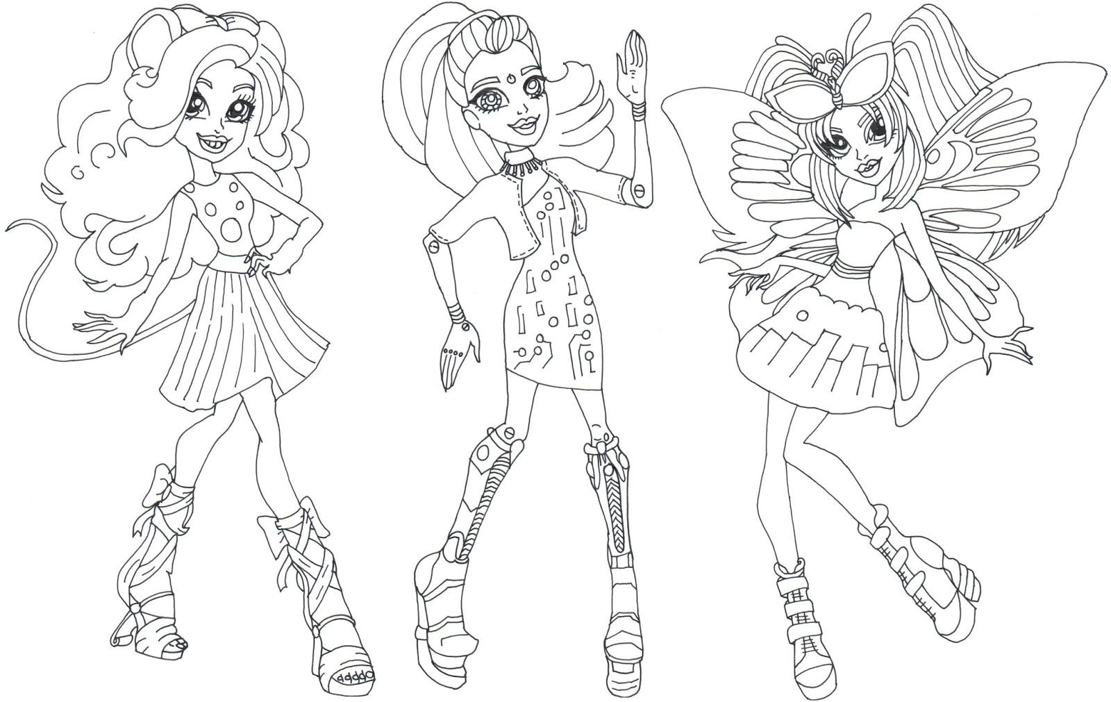 Gala Ghoulfriends Boo York Monster High Coloring Page Png 1600