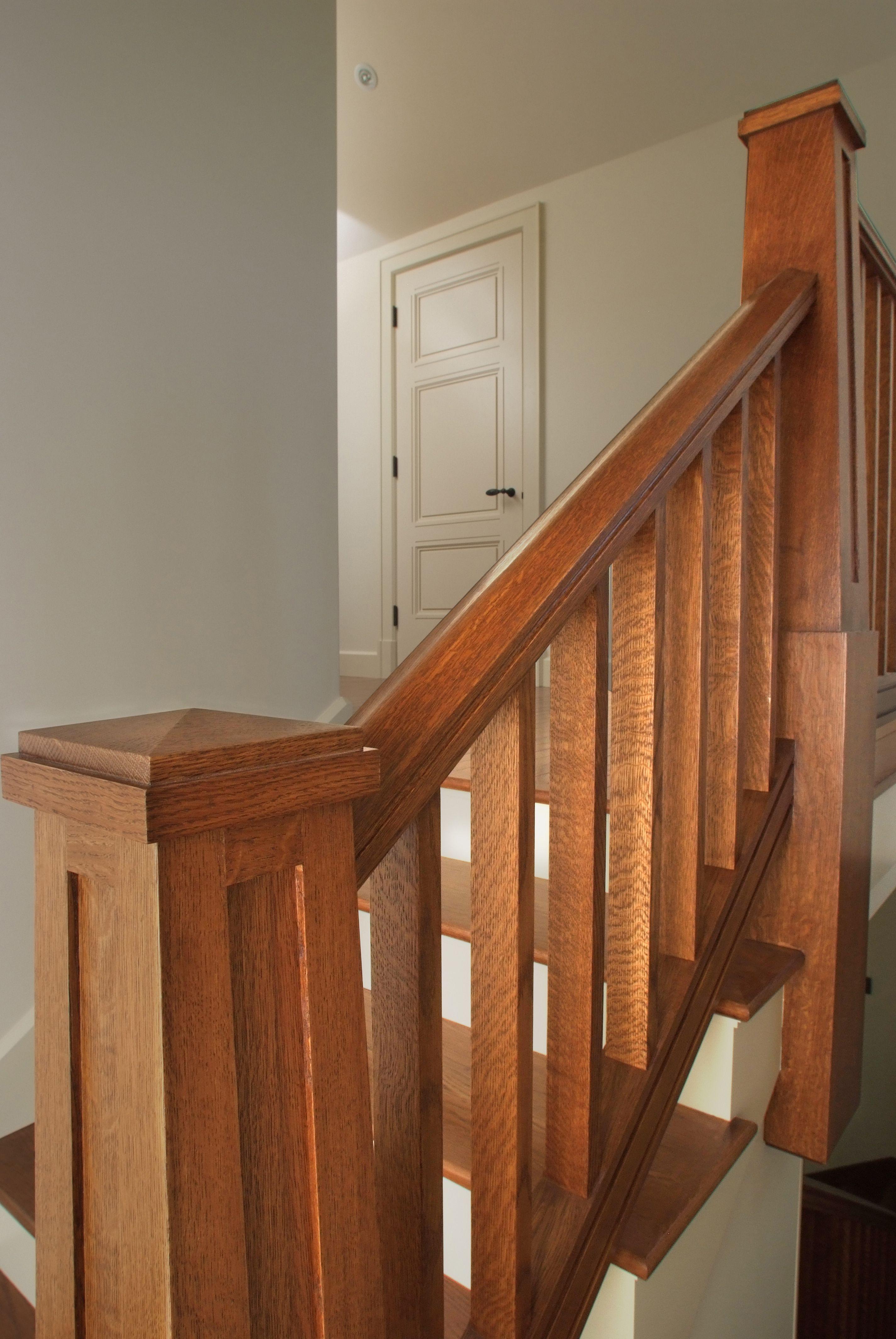 Custom Craftsman Quartersawn White Oak Handrail, Square Balusters And  Pyramid Cap/flat Panel Newel