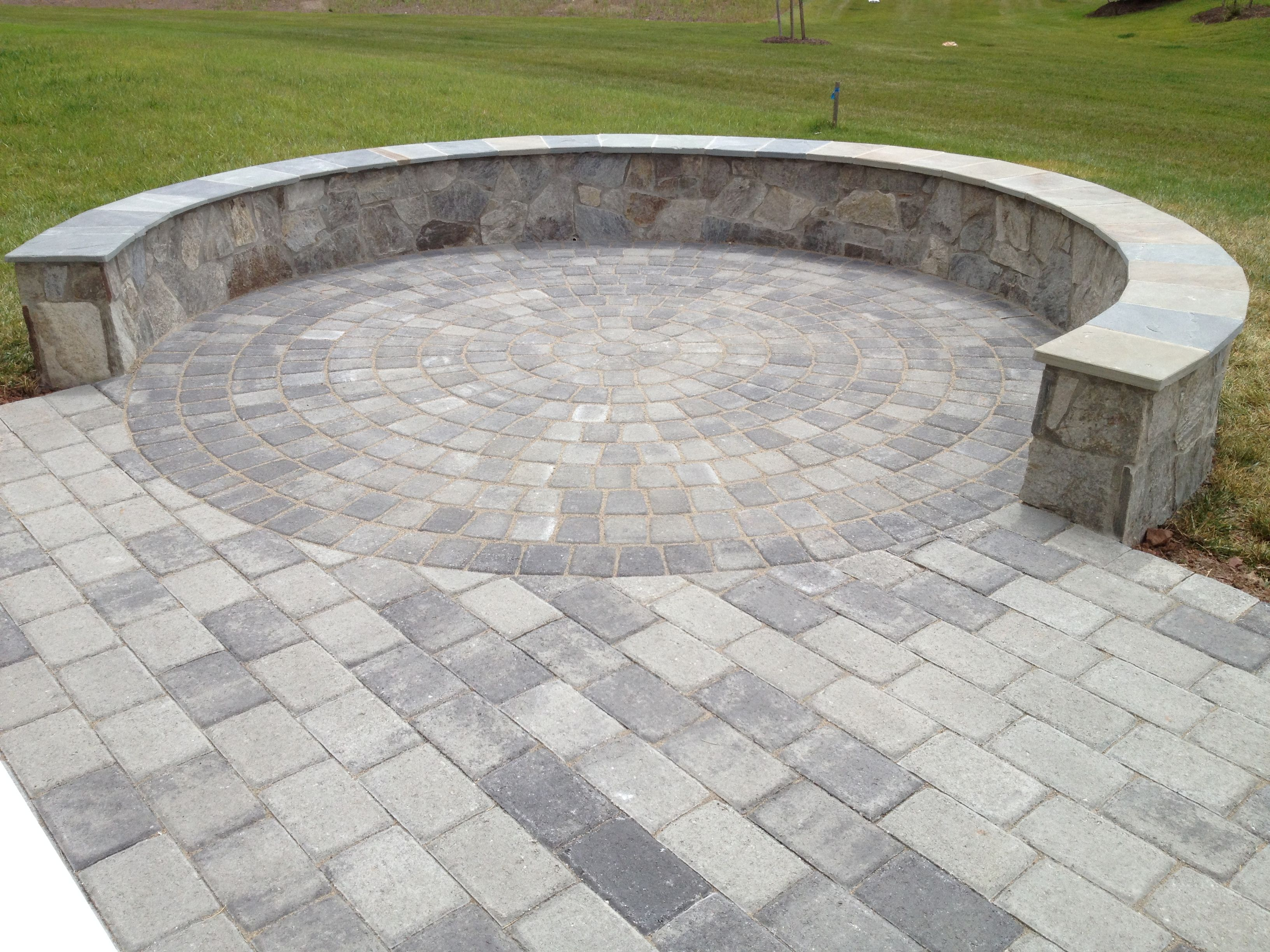 Paver Patio With A Stone Seating