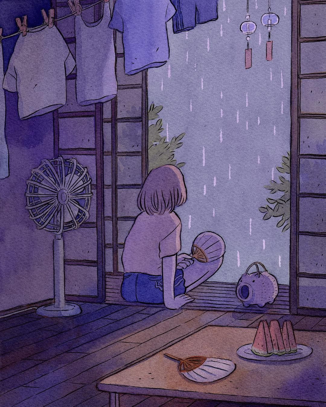 Heikala On Instagram Summer Rain This Illustration Is Available As A Print In My Shop Link In Bio Colouredink Aesthetic Anime Aesthetic Art Cute Art