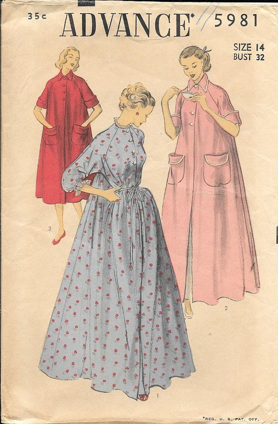 75963cdd41 Vintage 1950s Advance 5981 Womens Peignoir Coachman Robe Housecoat Sewing  Pattern. Pattern 5981 has been cut and is complete. Size 14 which will fit  a 32 ...