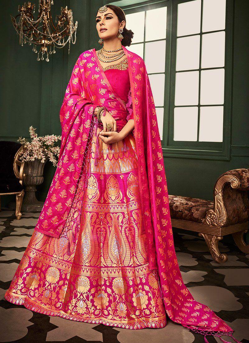 53dcfd05e1279 Hot Pink Heavy Embroidered Banarasi Silk Lehenga   lehnga   Designer ...