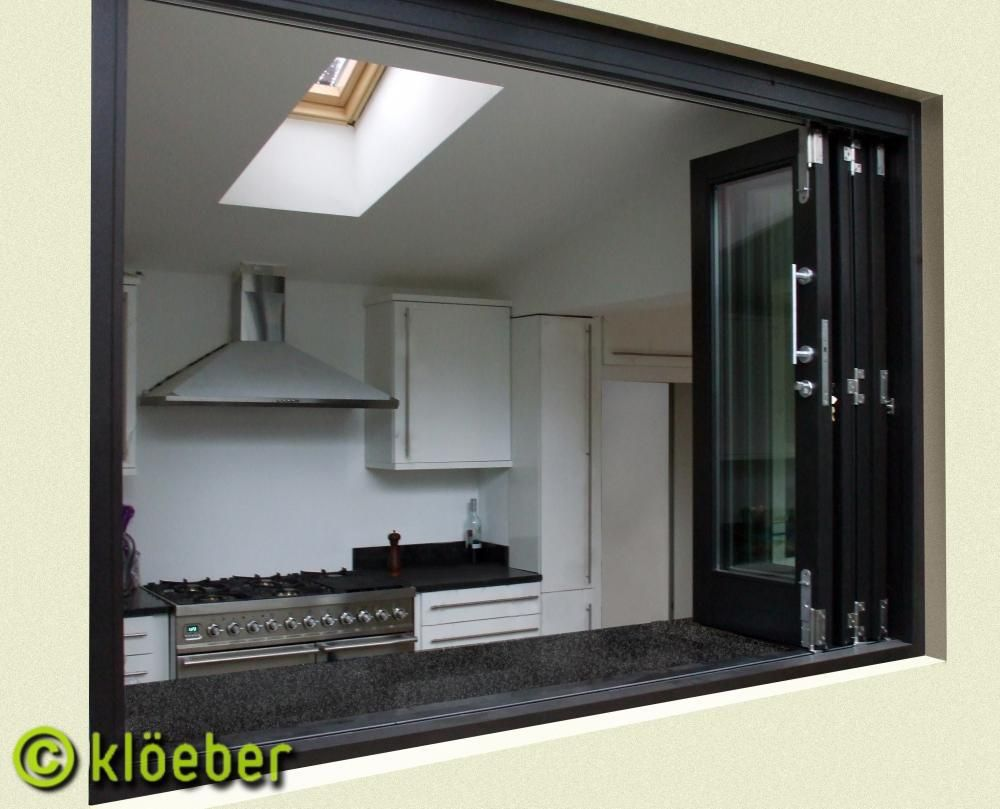 Folding sliding window kloeber for the home kitchen Folding window