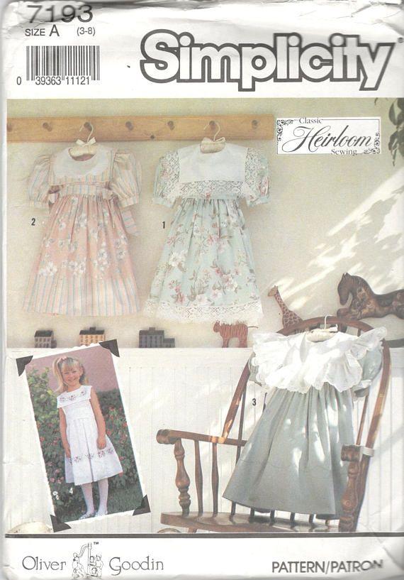 1990s Simplicity 7193 Childs Oliver Goodin Heirloom Dress ...