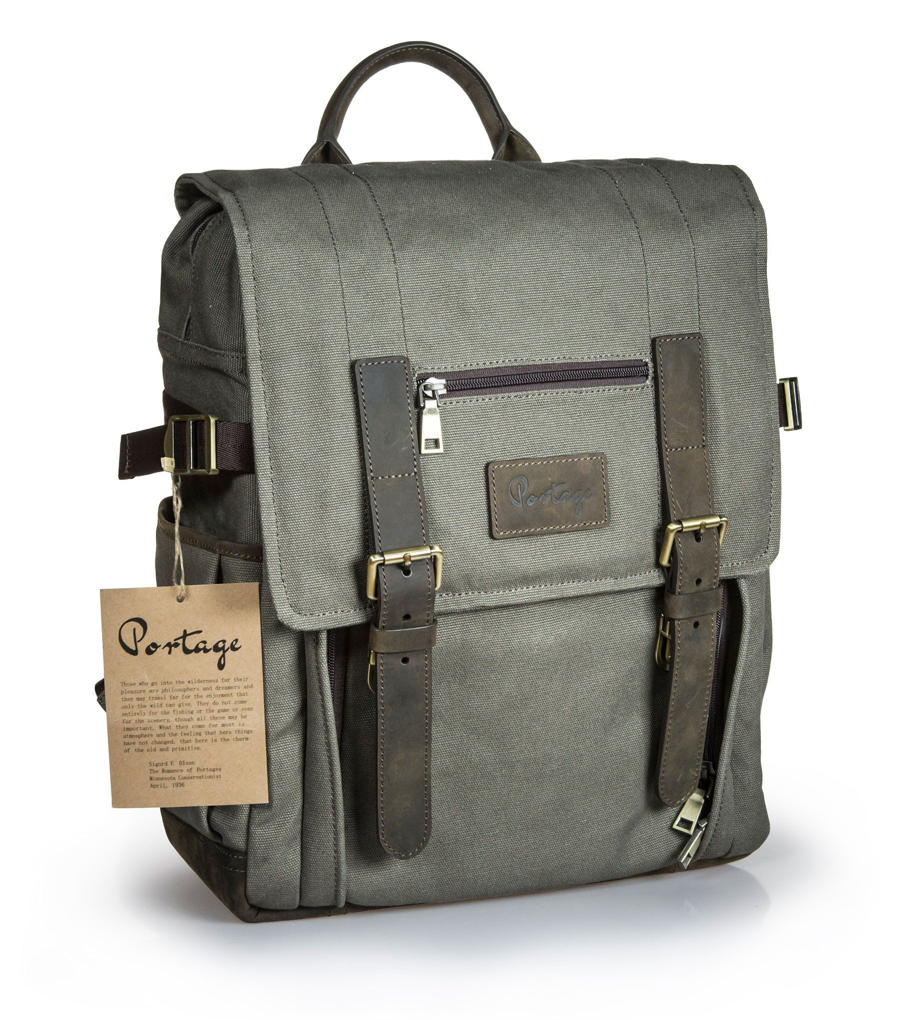 Diy laptop backpack - Portage Kenora Leather Waxed Canvas Backpack For Camera Laptop