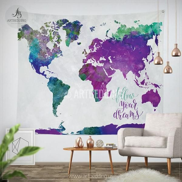 Boho Tapestry Watercolor World Map Wall Tapestry Modern